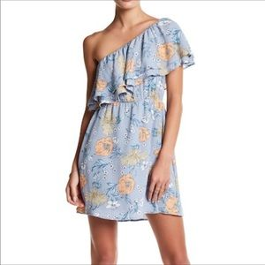 Lush ruffle floral print one shoulder dress NWT M